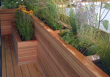 Raised planting bed made from cedar wood