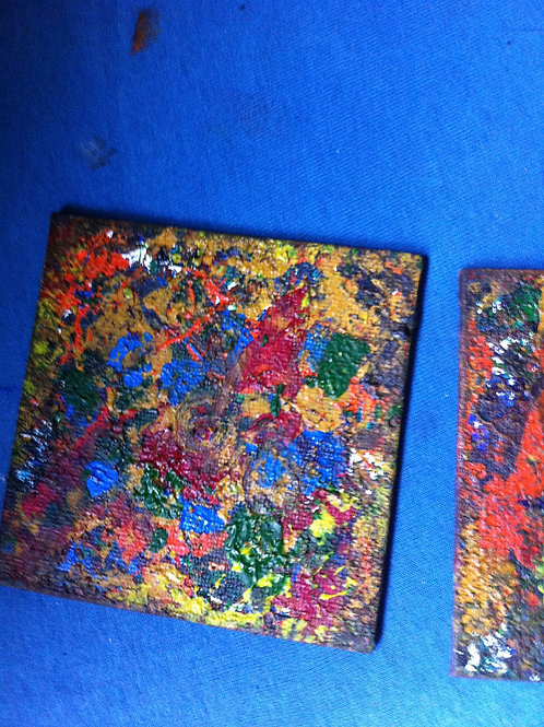 Abstract Canvas Art. (Six pieces.)