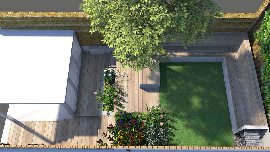Shaderlight CGI image of a garden design with lawn and decking