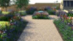 Computer sketch of a formal garden design for a country garden