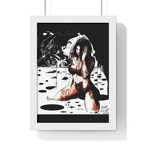Semi-Colour Figure Art...Premium Framed Vertical Poster.