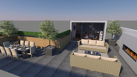 CGI image of a roof terrace garden design, consisting of a lounging area set around an outdoor fireplace, dining area enclosed by trees and an studio building