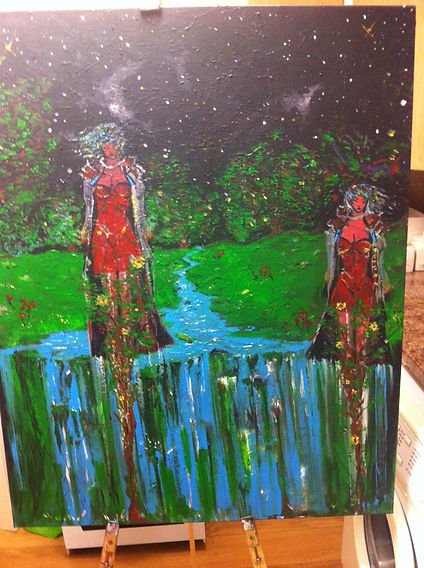 Very large CANVAS ART. Predominant colours: blue, green and red. Female figures, waterfall and trees.