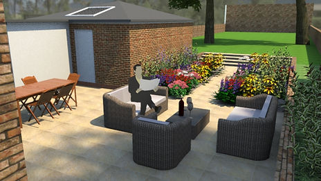 CGI image of a paved garden with large flowerbeds and a long lawn