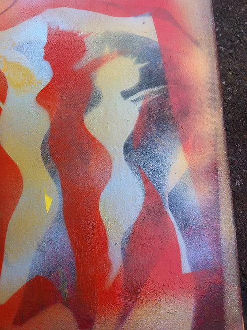 Silhouette Canvas Art. Colour. Spray Paints.