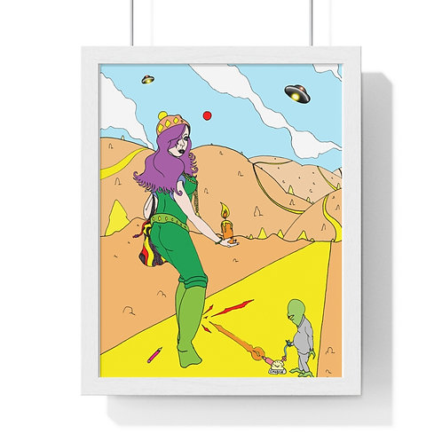"""Girl and UFO"" PEN ARTWORK. PC COLOUR. Premium Framed Vertical Poster."