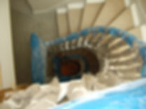 internal staircase covered in protective material