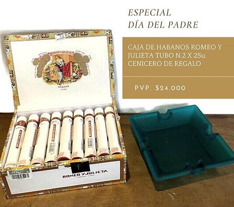 Caja de Romeo y Julieta tubo n 2  con cenicero de regalo