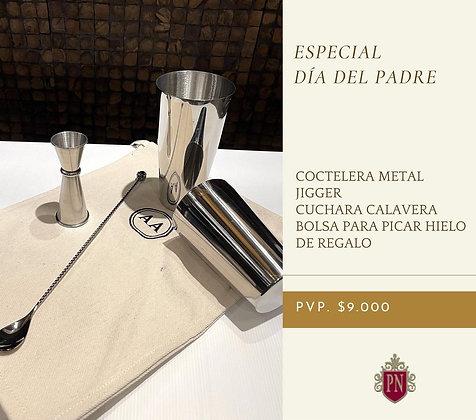 Especial Cockteleria: coctelera metal, jigger y cuchara de calavera + regalo
