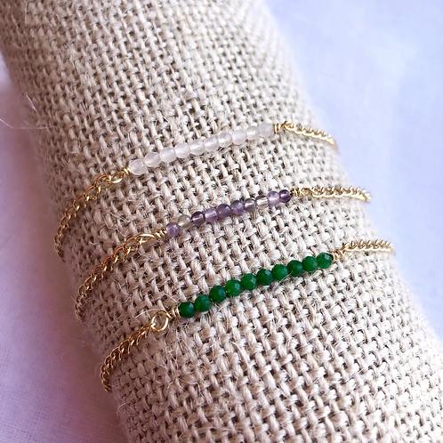 Paris pulsera cuarzo blanco, verde o amatista