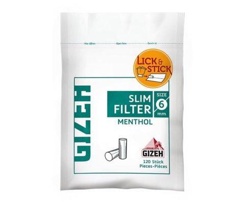 Filtros Gizeh slim menthol 6 mm