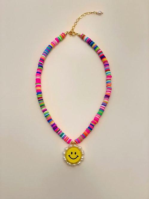 Collar Geral Fimo y Margaritas con mini Perlas drio