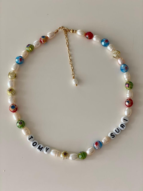 Collar Geral Perlas de rio y Muranos
