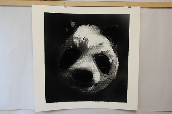 Flocked Panda Head #100