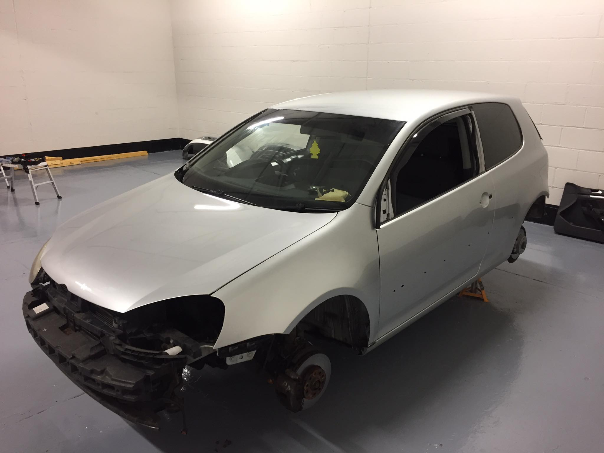 Stripped VW Golf pre wrap