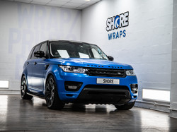 Satin Perfect Blue Range Rover Wrap front