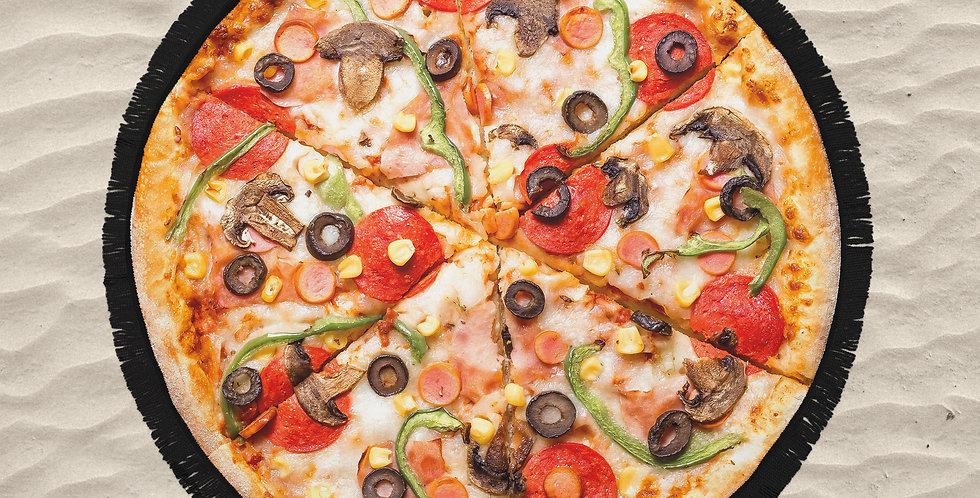 Pizza Yuvarlak Plaj Havlusu X Smiling Walls
