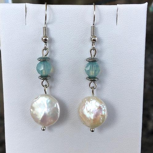 Blue Crystal Pearl Earrings