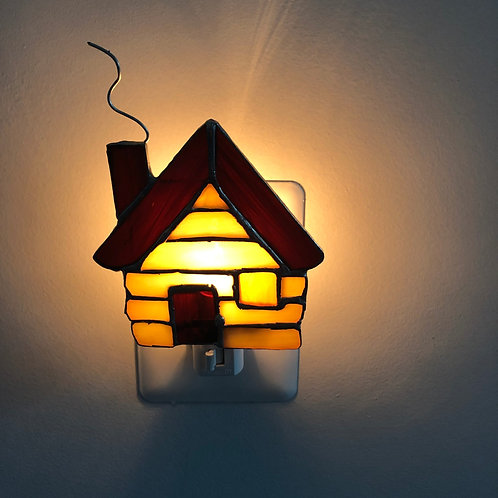 Cabin Stained Glass Nightlight