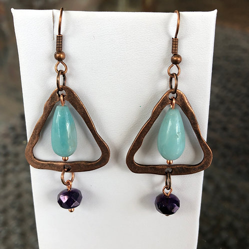 Sleeping Beauty Turquoise Triangle Earrings
