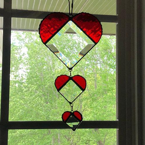 Trio of Beveled Glass Hearts Suncatcher