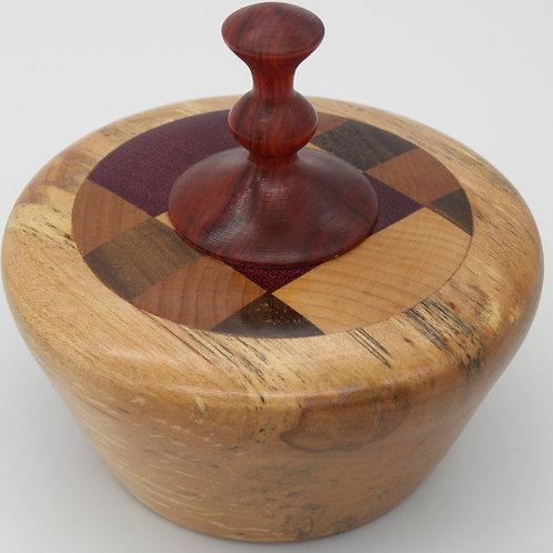 Checkerboard Birch Lidded Vessel/ Urn