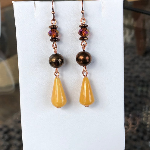 Yellow Jasper Dangle Earrings