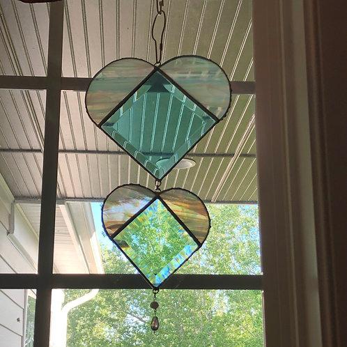 Beveled Glass Hearts Suncatcher