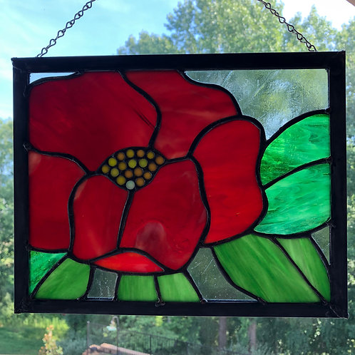 Poppy Stained Glass Panel
