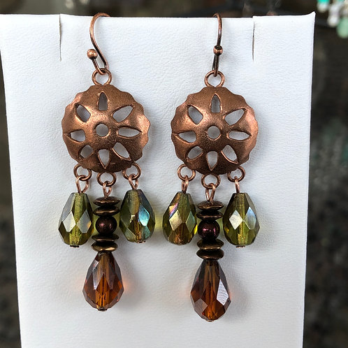 Sparkly Copper Flower Earrings