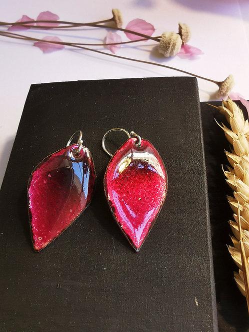 Boucles d'oreilles grenat/framboise