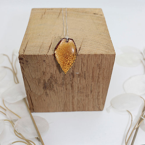 Collier feuille jaune tacheté