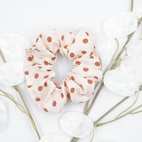 Chouchou foulard- blanc pois rouges