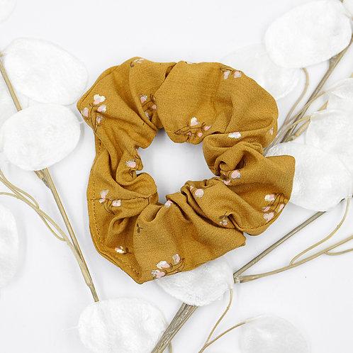 Chouchou foulard-ocre motifs blancs