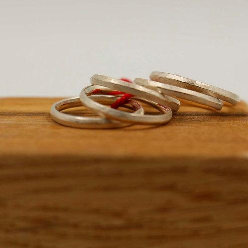 cinq anneaux argent brossé