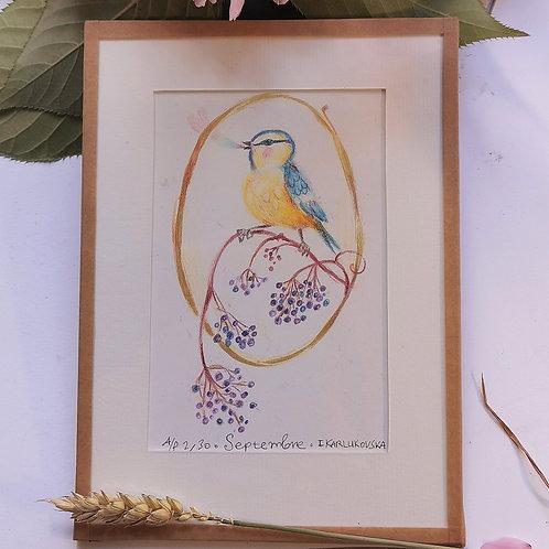 """Cadre oiseau """"Septembre"""""""