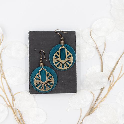 Boucles d'oreille style art déco bleue canard