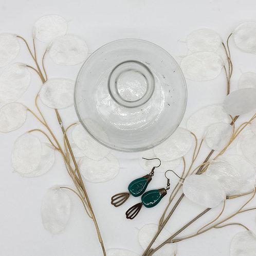 boucle d'oreilles bleu canard en verre