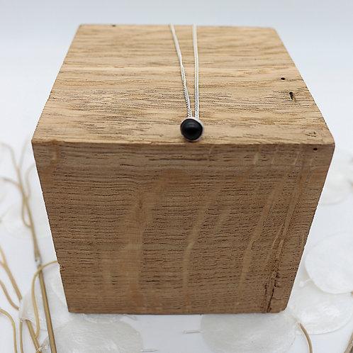 Collier en argent - perle noir