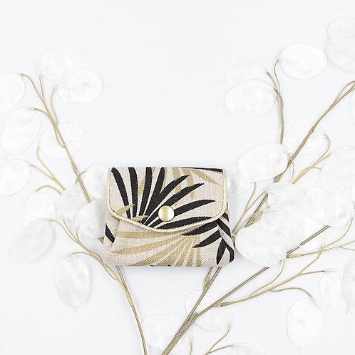 Porte-monnaie floral or & noir