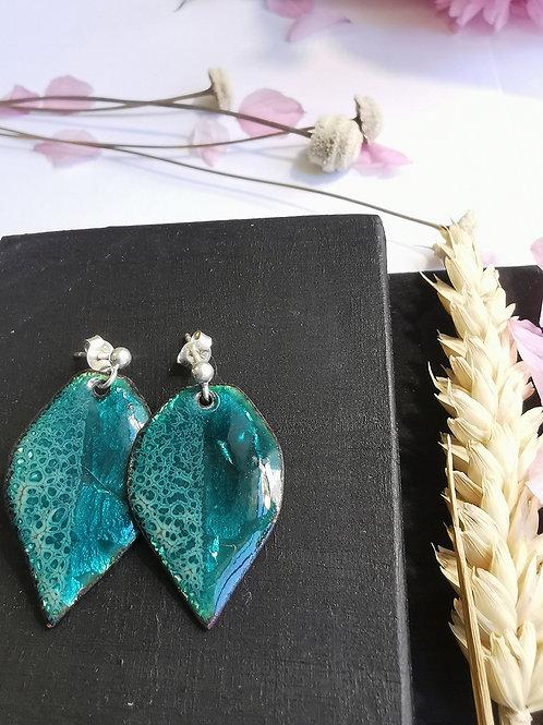 Boucles d'oreilles feuilles turquoise