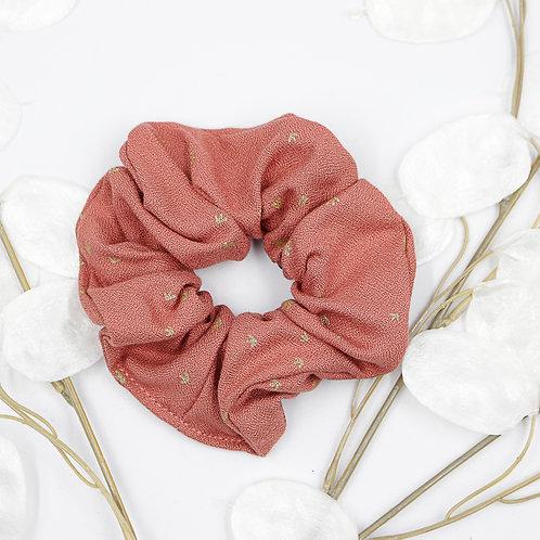 Chouchou foulard-rose motifs blancs