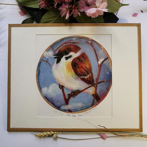 "Cadre oiseau ""La La La"""