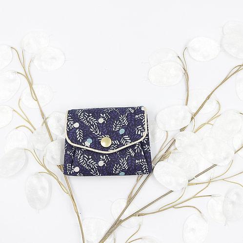 Porte-monnaie bleu à fleur