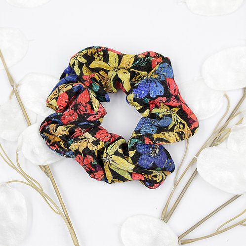 Chouchou foulard- fleurs fond noir