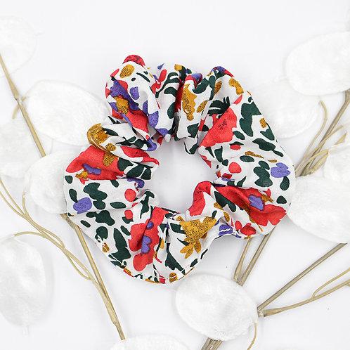 Chouchou foulard-fleuri fond blanc