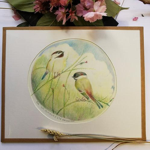 """Cadre oiseau """"Un amour d'été"""""""