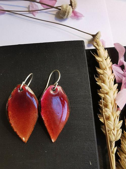 Boucles d'oreilles feuilles rouge-orangé