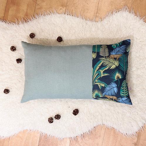 Coussin lin bleu et coton