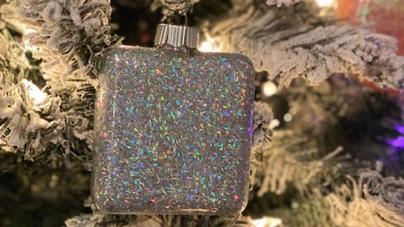 Holographic Silver Cubed Glass Ornament